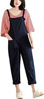 Hulaha Womens Cotton Plus Size Overalls Baggy Bibs Jumpsuits 2XL