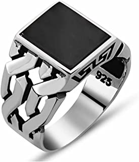 Mens Silver Ring with Black Onyx Stone in 925 Sterling Turkish Handmade Jewelry Men's Rings