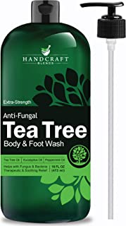 Handcraft Antifungal Tea Tree Oil Body Wash and Foot Wash – Huge 16 OZ – All Natural – Extra Strength Professional Grade – Helps Soothe Athlete Foot, Body Itch, Jock Itch and Eczema