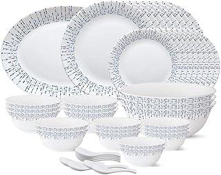 Larah by Borosil - Tiara Series, Pulse, 44 Pcs, Opalware Dinner Set, White