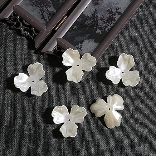 20pcs Petal Flower ABS Acrílico Imitación Pearl Beads Bowknot Tie Bead Gorros para la Costura DIY Material Material Hallazgos