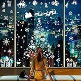 CMTOP Pegatinas de Navidad (214 pcs) Navidad la Decoración del Hogar de Blanca Chrismas Adhesivos Ventana PVC Pegatinas Removible Navidad Copos Nieve Stickers