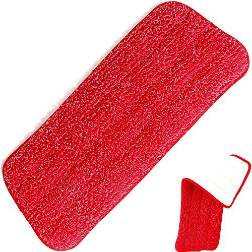 Panno lavabile in microfibra lava pavimenti ricambio per scopa Spray Mop by Tech Star con superficie superiore compatibile per velcro - Rosso