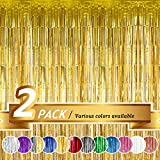 BTSD-home Gold Foil Fringe Curtain, Metallic Photo Booth Backdrop Tinsel Door Curtains for Wedding Birthday Bridal Shower Baby Shower Bachelorette Christmas Party Decorations(2 Pack, 6ft x 8ft)