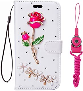 Alcatel Pixi Theatre case,Handmade Girls fashion Bling Rhinestones PU Leather Filo slots Wallet Flip Protective Case Cover with 2 straps for Alcatel PIXI 4 (6