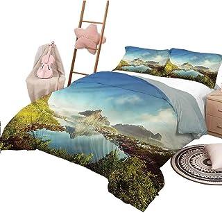 Funda nórdica Colcha Europea de tamaño Completo para Dormitorio Ligero para Todas Las Estaciones Imagen del día Soleado de otoño