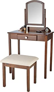 MUSEHOMEINC Compact WoodVanity Set with RectangularMirror, Backless Stool, Drawer Makeup Dressing Table/Cube Metal Knobs,Brown