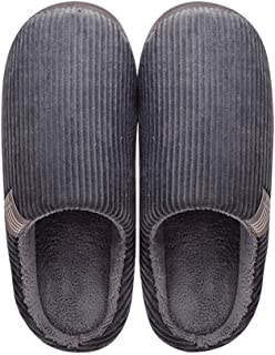 Slippers Men's Comfort Memory Foam Slippers Plush Fleece Lined House Shoes Indoor Outdoor Anti Skid Rubber Sole Breathable Casual cotton slippers (Color : Gray, Size : XXXXL)