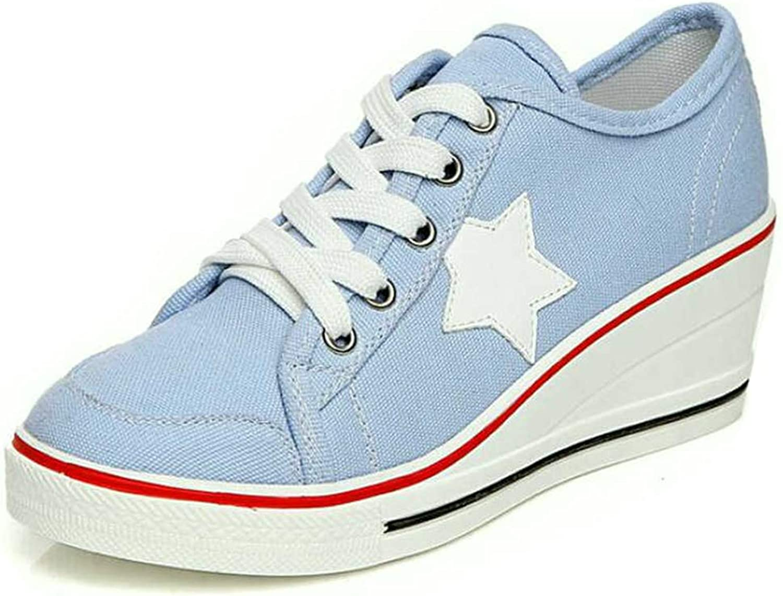Hoxekle Fashion Women Casual shoes Comfortable Lace Up Platform Sneakers Wedges Denim Canvas shoes Breathable Flat shoes
