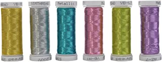 Simthreads 6 Assorted Colors Metallic Machine/Hand Embroidery Thread 200 Yards Ea for Janome Brother Pfaff Babylock Singer Bernina Husqvaran & Most Home Embroidery Machines Special Embroidery Designs