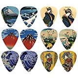 Japanese Fine Art Famous Paintings Guitar Picks (12-Pack)- Medium - Katsushika Hokusai Vincent Van Gogh Mount Fuji Wave Geisha - Stocking...