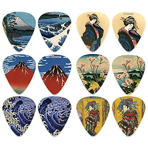 Japanese Fine Art Famous Paintings Guitar Picks (12-Pack)- Medium - Katsushika Hokusai Vincent Van Gogh Mount Fuji Wave Geisha - Stocking Stuffers for Guitarist Men Women 'Mother's Day Father's Day
