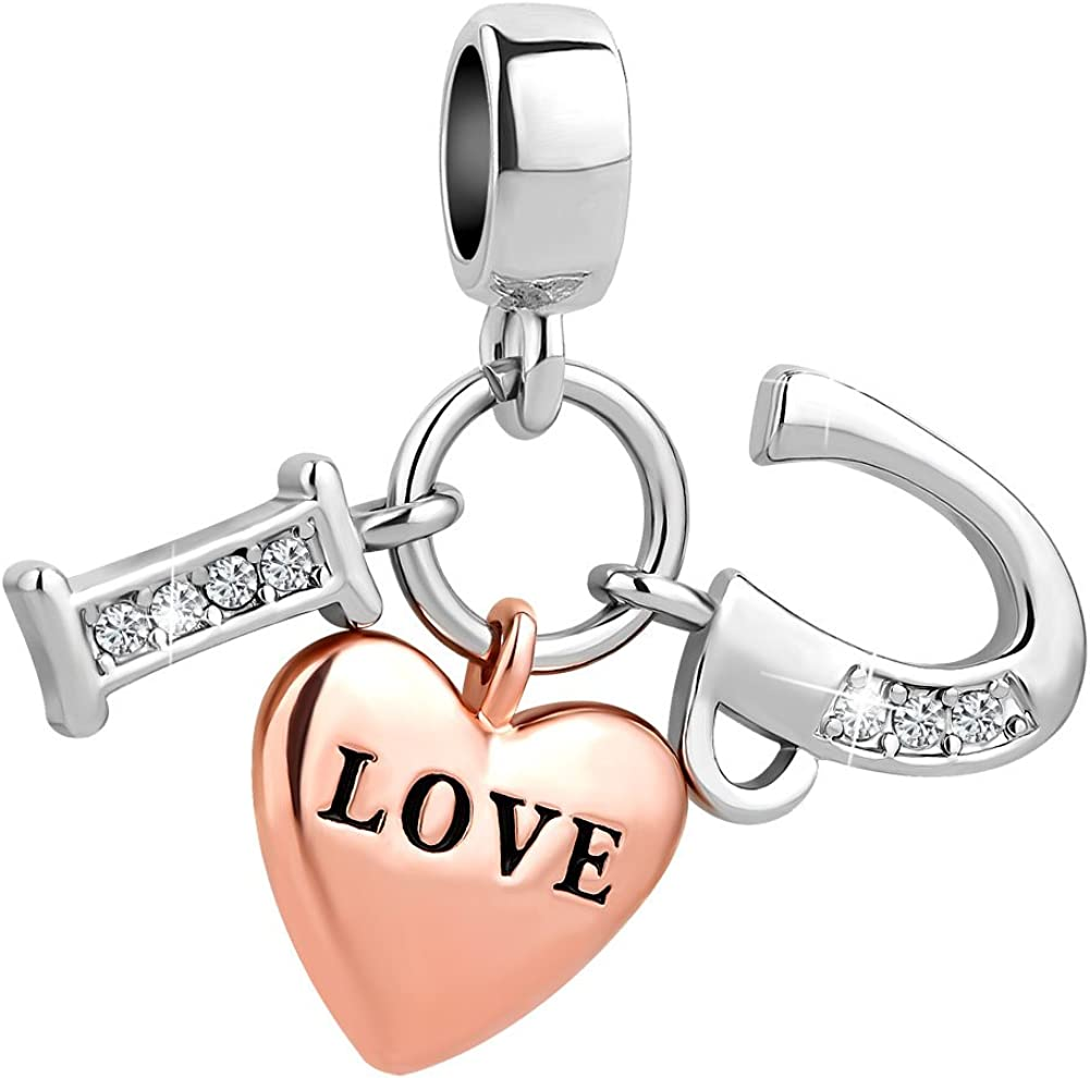 CharmSStory I Love You Rose Gold Plated Heart Charms Pendant for Bracelet Necklaces