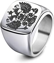 Tuji Jewelry Men Stainless Steel Eagle Rings with Signet