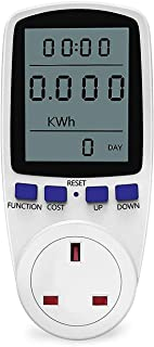LCD Display Digital Power Energy Meter AC 230V - 250V Power Consumption Energy Monitor Cost Calculator Watt Voltage Amp Meter