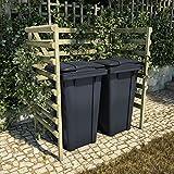 Famehours Cobertizo de basura doble verde 140x80x150 cm pinos...