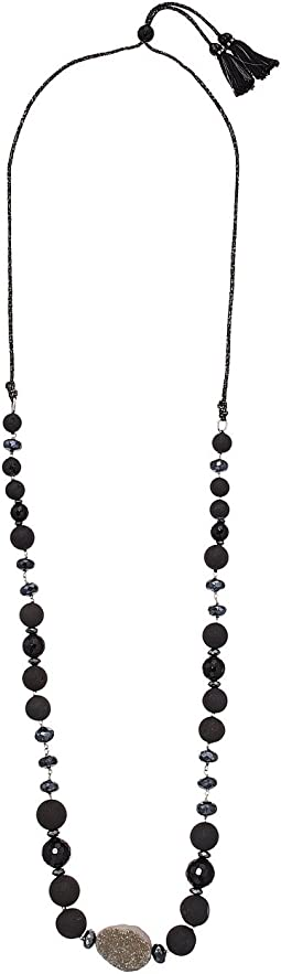 Chan Luu Sterling Silver Adjustable Necklace with Single Agate and Semi Precious Stones