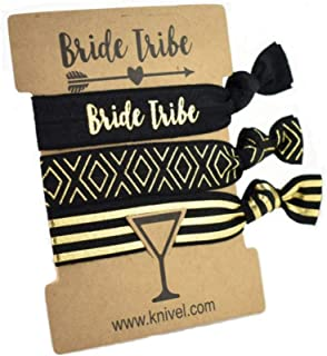 Knivel Set of 10 Bride Tribe Hair Ties and 1 Bride to Be Hair Tie | 11-Pack of Carded Elastic Hair Band Sets | Team Bride Gifts for Bridesmaid Proposal Box | Bridesmaids Bachelorette Party Favor
