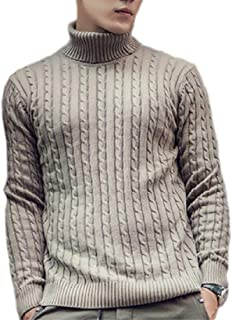 Men Turtleneck Soft Twisted Knitted Long Sleeve Pullover Sweaters