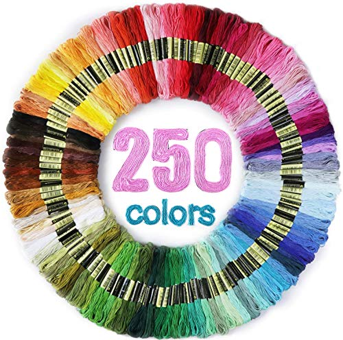 LOVIMAG Embroidery Floss 250 Skeins Per Pack for Cross Stitch Threads,4.37 Yards Cotton Embroidery Thread Used for Friendship Bracelets String, Cross Stitch Painting etc.