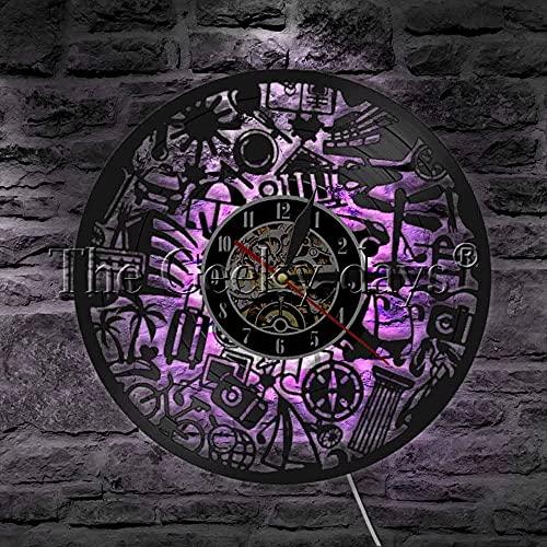 ZZLLL Alrededor del Mundo Lámpara de Pared LED Disco de Vinilo Reloj...