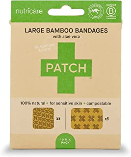 Sponsored Ad - PATCH Large Square and Rectangle Bamboo Bandages Hypoallergenic Zero Waste 100% Compostable, Aloe Vera - Cr...