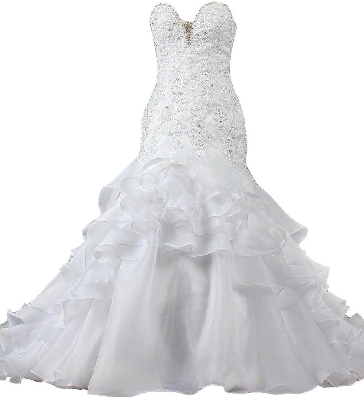 ANTS Sexy Sweetheart Crystal Lace Tiered Organza Mermaid Wedding Dress
