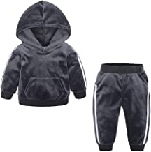 LONGDAY Boys Girls 2Pcs Velvet Hooded Tracksuit Top+Sweatpant Outfit Set(12M-8T), Pants Outfits Fall Winter Clothes Set