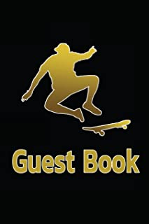 Guest Book: Skater for vacation Home a wedding set for the memorial, funeral service, memorial service -110 Lined Pages