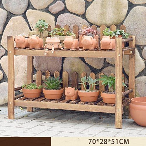 HJ support à fleurs Yxsd Solide étagère en Bois Multicouche intérieur extérieur Plancher Pot Rack Balcon Pliant étagère (Size : 70 * 28 * 51cm)