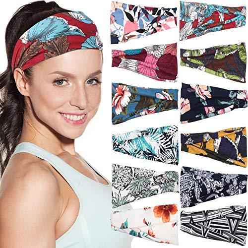 12 Pieces Boho Headbands for Women, Floral Style Stretch Head Wrap Bandana Summer Sports Running Yoga Headbands, Sweat-absorbent Non-slip Headband for Women Girls