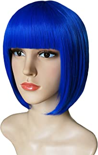 Another Me Wig Women's Elegant Royal Blue Short Bob Wig 11.5 Inches Ultra Soft Neat Bangs Heat Resistant Fiber Party Cosplay Accessories