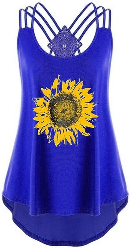 FABIURT Summer Tank Tops for Women, Womens Fashion Sunflower Printed Sleeveless Loose Cross Vest Open Back Cami Tank Top