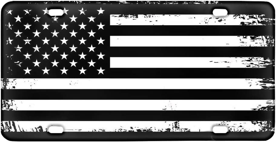 4 Holes POLERO Patriotic License Plate American Flag Pledge of Allegiance Auto Tag Decorative Car Front License Plate,Vanity Tag,Metal Car Plate,Aluminum Novelty License Plate,6 X 12 Inch