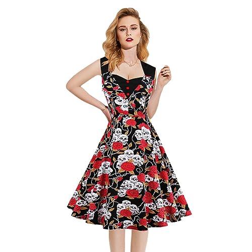 40ed9fbc03e7 Killreal Women s Polka Dot Retro Vintage Style Cocktail Party Swing Dresses  Red