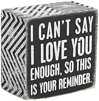 Primitives by Kathy 23238 Chevron Trimmed Box Sign 3 x 3-Inches I Love You