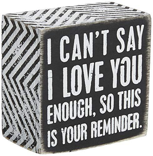 Primitives by Kathy 23238 Panneau de boîte avec motif chevron, 7,6 x 7,6 cm, I Love You