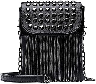 TOOGOO Punk Style Women Bag Pu Leather Handbag With Tassel Purse Women'S Shoulder Bags Small Cross Body Bag Chain Diamond