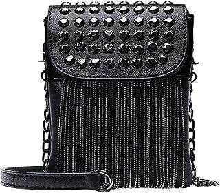 TOOGOO Punk Style Women Bag Pu Leather Handbag With Tassel Purse Women'S Shoulder Bags Small Cross Body Bag Chain Diamond