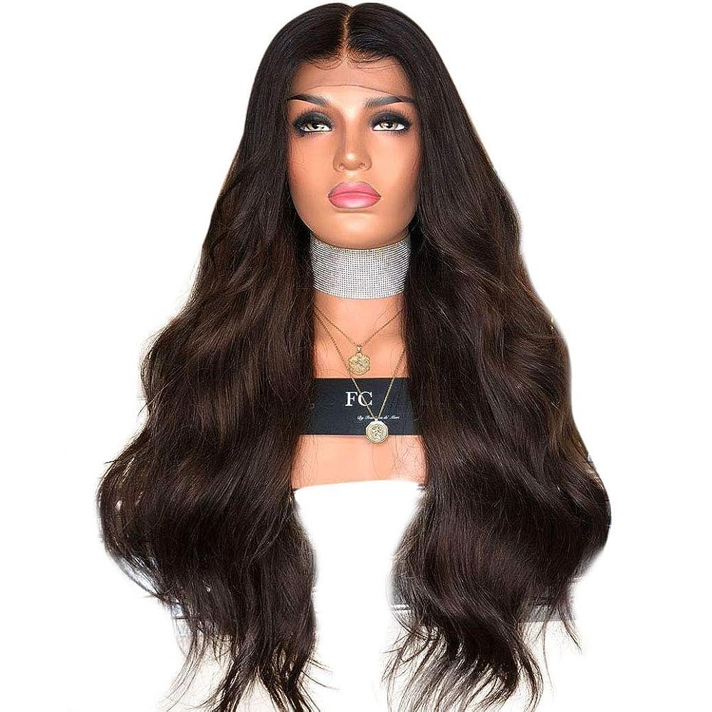 漏斗代わりに排泄物Yrattary 黒と茶色の色の長い巻き毛の女性のハイライトウィッグヘッドギア複合ヘアレースウィッグロールプレイングかつら (色 : Photo Color, サイズ : 65cm)