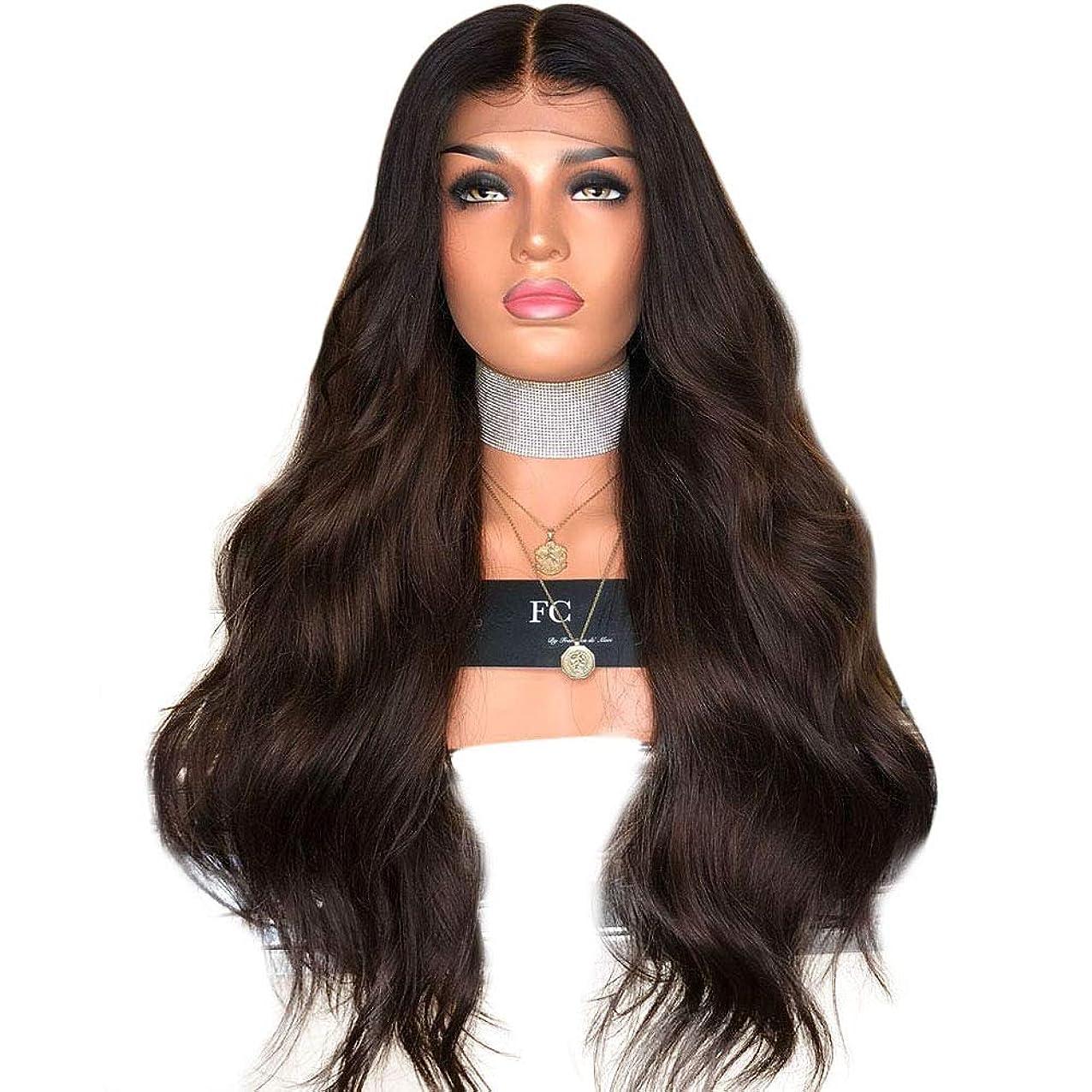 つぶやき条約大きなスケールで見るとYrattary 黒と茶色の色の長い巻き毛の女性のハイライトウィッグヘッドギア複合ヘアレースウィッグロールプレイングかつら (色 : Photo Color, サイズ : 65cm)