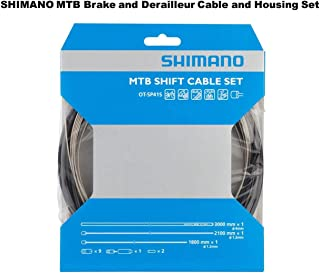 SHIMANO MTB Brake and Shifter Cable Set Housing Included, Black, Mountain Bike Kit