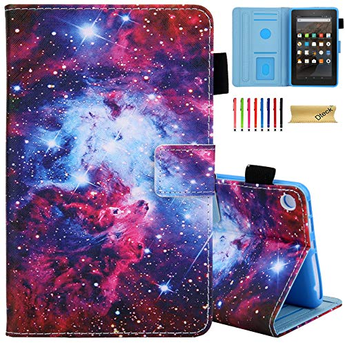 Dteck Case for Fire 7 Tablet (7' Display, 9th Generation 2019 /7th Generation 2017 /5th Generation 2015), Slim Flip Leather Wallet Stand Smart Cover with Auto Wake Sleep/Stylus Pen (Mystery Galaxy)