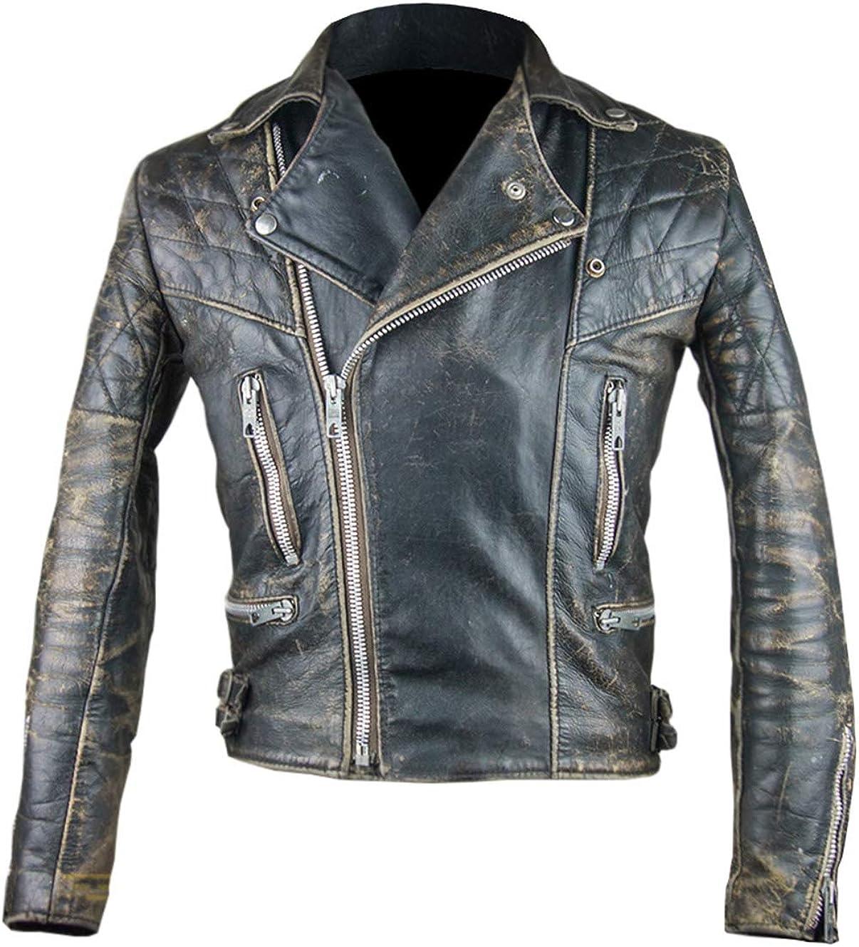 UGFashions Men's Antique Cafe Racer Motorcycle Retro Vintage Quilted Distressed Leather Biker Black Jacket