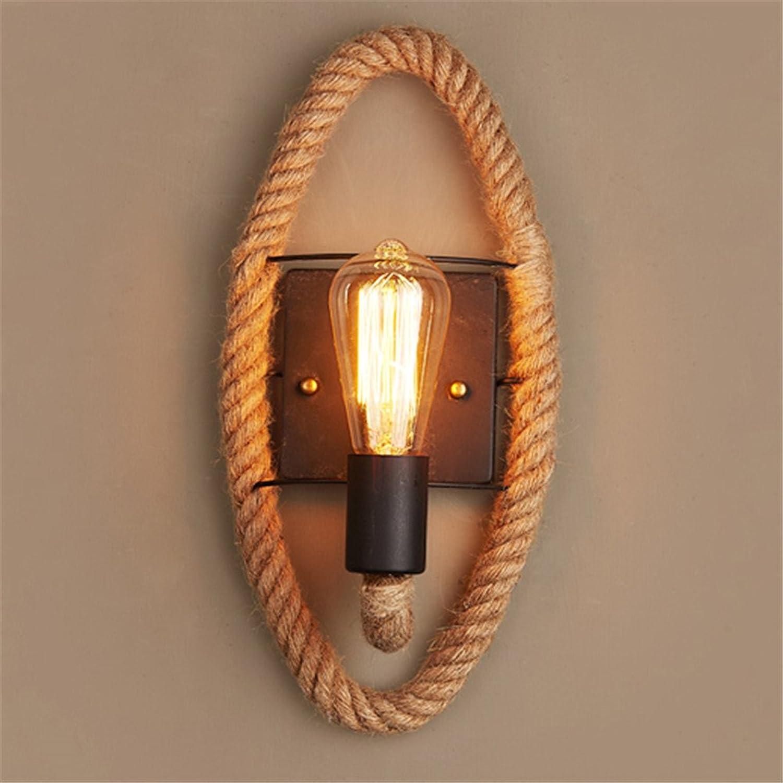 MSFS Gang Hanfseil Lampe Retro Balkon Treppe Kreativ Nachtbar Eisen Wandlampe,1