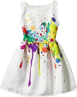 Girls Kids Casual Dress Paint Butterfly Rose Animal Fall Long Sleeve/Sleeveless Dresses