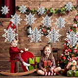 YSBER Winter Christmas Hanging Snowflake Decorations -12 Pieces 3D Snowflakes Hanging Garland with String for Christmas Winter Wonderland Holiday New Year Party Home Decorations,3 Styles (Silver)