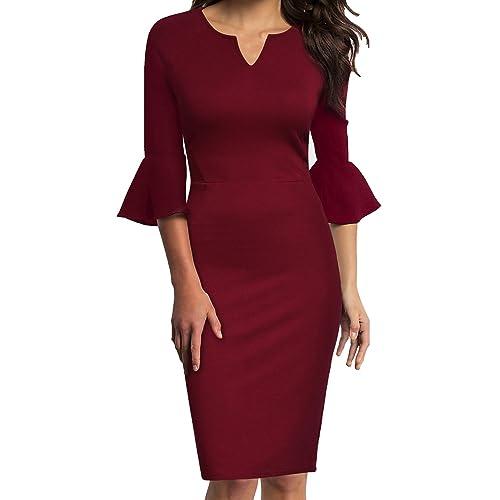 b17a6b9eb4d WOOSUNZE Womens Flounce Bell Sleeve Office Work Casual Pencil Dress