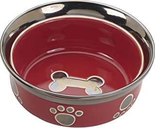 Ethical Stoneware Dish 688827 5 in. Ritz Copper Rim Cat Dish - Red