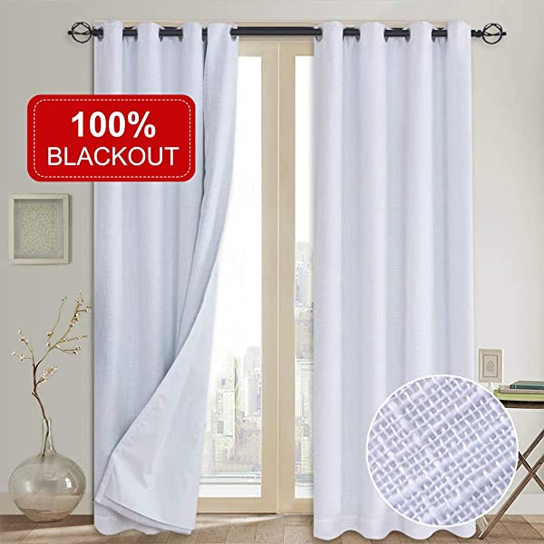 100 Blackout Curtains With Liner Primitive Linen Look White Blackout Curtains Blackout Thermal Insulated Liner Grommet Curtains For Living Room Bedroom Burlap Curtains 2 Panels 50x84